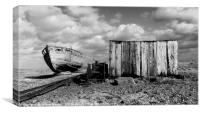 Derelict Fishing Boat at Dungeness Beach, Canvas Print