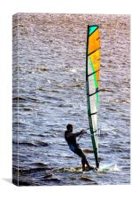 Wind-surfing in the afternoon          , Canvas Print