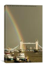 Rainbow over Tower Bridge, London, Canvas Print