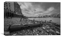 Old windlass on the Thames foreshore, Canvas Print