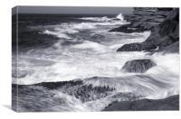 Breaking waves on rocks, Canvas Print