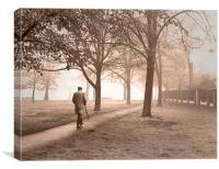 Misty morning walk, Canvas Print