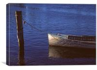 Moored dinghy, Canvas Print