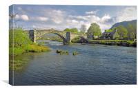 Llanrwst Bridge (1636) over the River Conwy, North, Canvas Print