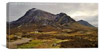 Buchaille Etive More and the old farm house., Canvas Print
