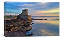 Sunset on Saltcoats Sea defence. , Canvas Print