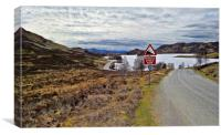 Loch Tarff with General wades old military road, Canvas Print