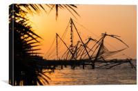 The Chinese Fishing Nets, Kochi, India, Canvas Print