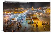 Jemaa el-Fnaa, Marrakech in the evening, Canvas Print