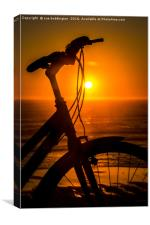 Cycling into the sunset, Canvas Print