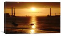 Sunset over the QE2 Bridge, Kent, Canvas Print