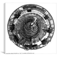 Glasgow Central B&W Planet, Canvas Print