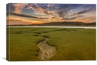 The river Ogmore, south Wales, at sunset., Canvas Print