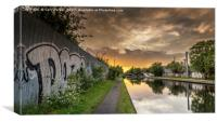 Urban, inner city canal, at sunset, Canvas Print
