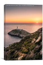 Sunset over South Stack, Canvas Print