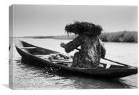 African Canoe, Canvas Print