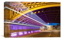 Light Trails, High Level Bridge, Newcastle, Tyne a, Canvas Print