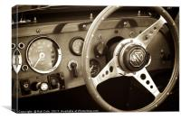 MG Sports Car Dashboard, Canvas Print