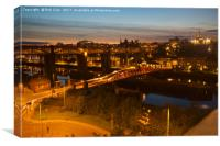 High Level and Swing Bridges at Dusk, Newcastle, T, Canvas Print