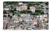 Sicilian hillside houses, Canvas Print