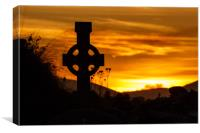Celtic Cross at sunset, Dingle Peninsula, Kerry, Canvas Print