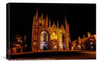 Peterborough Cathedral at Night, Canvas Print