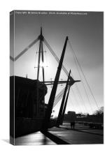 Millennium Stadium in Monochrome Cardiff, Canvas Print