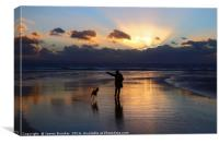 Walking the Dog at Sunset on Dunraven Bay Beach