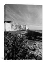 Seaford Head East Sussex in Black and White, Canvas Print