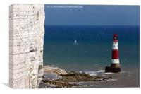 Beachy Head Lighthouse and sailing boat