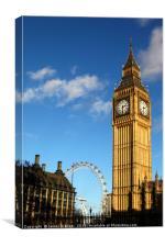 Big Ben clock tower and Millennium Wheel London, Canvas Print