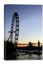 Millennium Wheel River Thames and London Skyline, Canvas Print