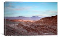 Valle de la Muerte at Sunset Atacama Desert Chile, Canvas Print