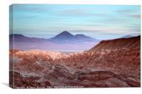 Atacama Desert and Volcanos at Sunset Chile, Canvas Print