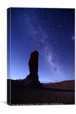 Moais de Tara and Milky Way Atacama Desert Chile, Canvas Print