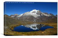 Mt Huayna Potosi Reflections and Lake Bolivia, Canvas Print