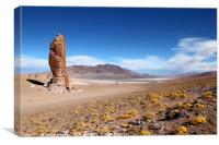 Moai de Tara and Salar de Aguas Calientes Chile, Canvas Print