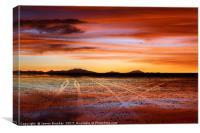 Vehicle tracks on surface of Salar de Uyuni at sun, Canvas Print