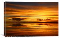 Sunset Reflections on the Salar de Uyuni Bolivia, Canvas Print