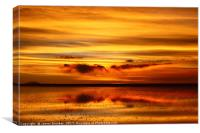 Sunset Reflected on the Salar de Uyuni Bolivia, Canvas Print