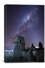 Milky Way and Parinacota Church Belfry Chile, Canvas Print