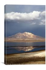 Stormy Skies Over Lake Chungara Chile Vertical, Canvas Print