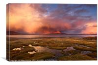 Stormy Sunset Over Lake Chungara Northern Chile, Canvas Print