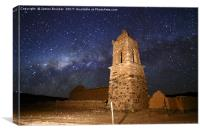 Ruined Church Tower and Milky Way Bolivia, Canvas Print