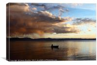 Dramatic Clouds and Fisherman on Lake Titicaca, Canvas Print