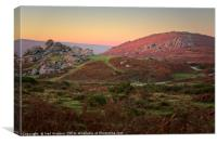 Bonehill Rocks and Bell Tor, Dartmoor, Canvas Print