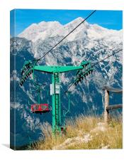 Mountain ski lift, Canvas Print
