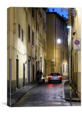 Florance small street by night , Canvas Print