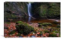 Autumn at Sgwd Einion Gam Waterfall, Brecon Beacon, Canvas Print