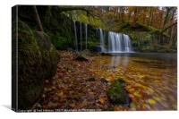 Autumn at Sgwd Ddwli Waterfall, Canvas Print